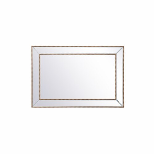 Iris beaded mirror 42 x 28 inch in antique gold Perspective: front