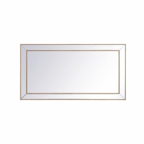 Iris beaded mirror 60 x 32 inch in antique gold Perspective: front