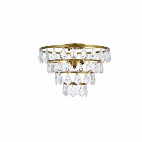 Ella 16 inch flush mount in brass Perspective: front