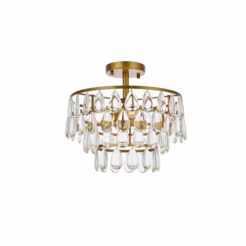 Mila 14 inch flush mount in brass Perspective: front