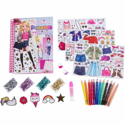 Hot Focus Fashion Stylist Kit - Fashion Design Sketchbook with 12 Erasable Colored Pencils Perspective: front