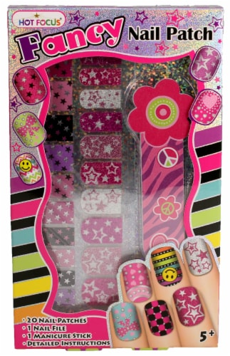 Fancy Nail Patches, Nail File, and Manicure Stick - Stars Perspective: front