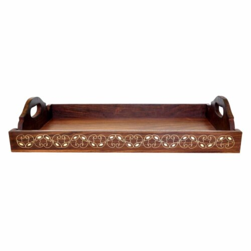 Benzara Traditional Wooden Tray With Brass Inlay Design - Brown Perspective: front