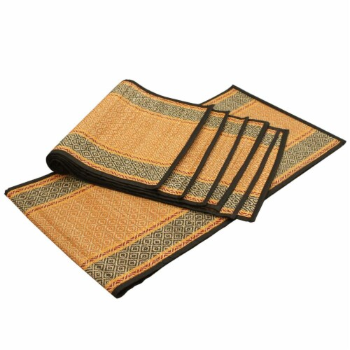Benzara Place Mats and Table Runner - Brown/Black Perspective: front