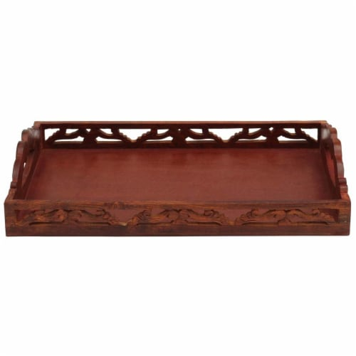 Benzara Hand Carved Wooden Serving Tray With Handles - Brown Perspective: front