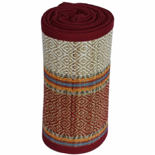 Benzara Indoor and Outdoor Woven Straw Yoga Beach Mat Perspective: front