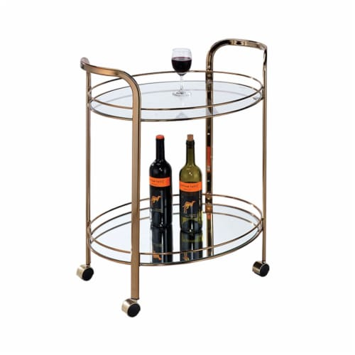 Benzara Starla Contemporary Serving Cart, Champagne Perspective: front