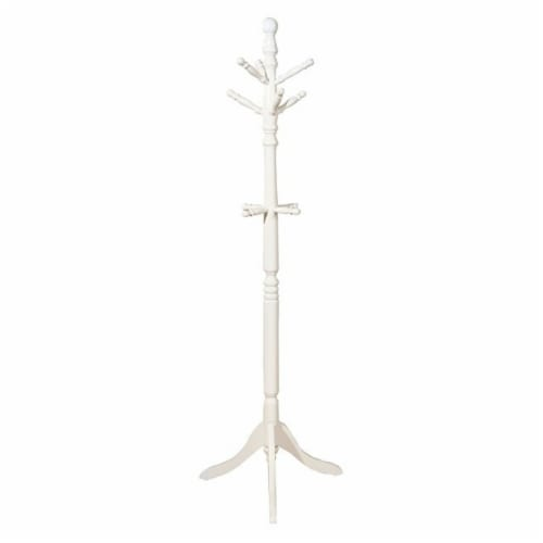 Benzara Transitional Style Coat Rack - White Perspective: front