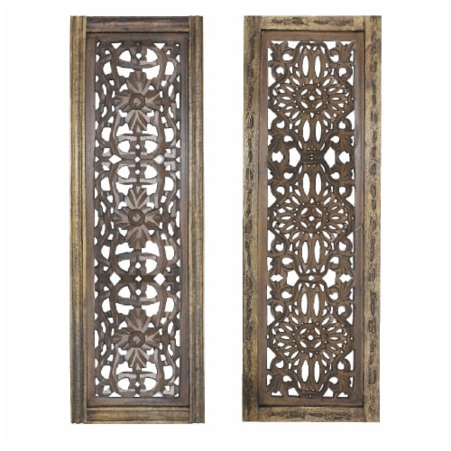 Benzara Hand Carved Wooden Wall Panels Wall Decor Perspective: front