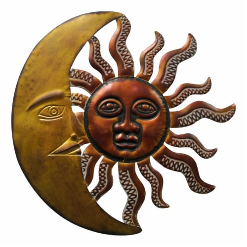 Benzara Celestial Sun and Moon Metal Wall Art Decor - Gold/Rust Brown Perspective: front