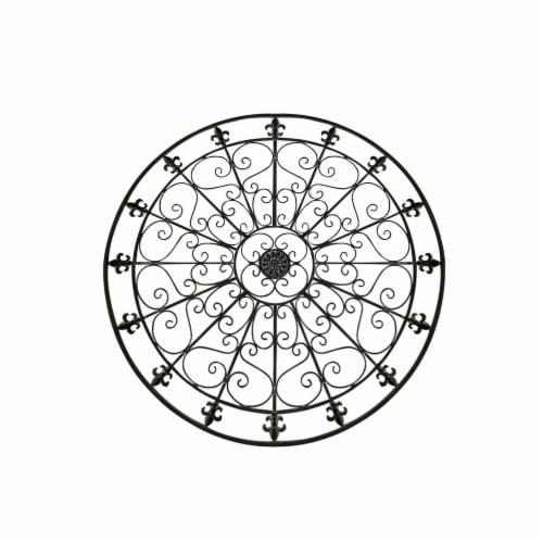 Benzara Metal Medallion Round Wall Decor with Swirls - Black Perspective: front