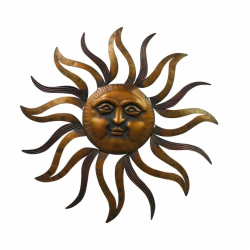 Sun With Facial Details Hanging Wall Decor - Bronze Perspective: front