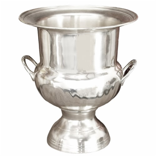 Benzara Brass Wine Bucket With Two Side Handles In Traditional Style - Silver Perspective: front