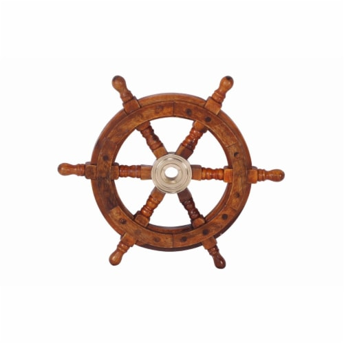 Benzara Teak Wood Ship Wheel Wall Decor - Brown/Gold Perspective: front
