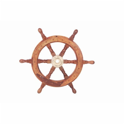 Teak Wood Ship Wheel With Brass Inset and Six Spokes - Brown and Gold Perspective: front