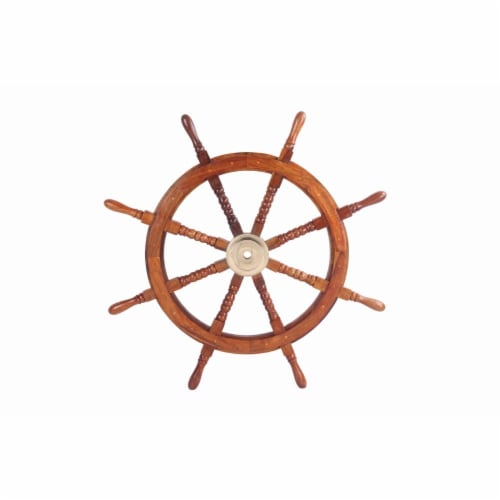 Teak Wood Ship Wheel Decor - Brown and Gold Perspective: front