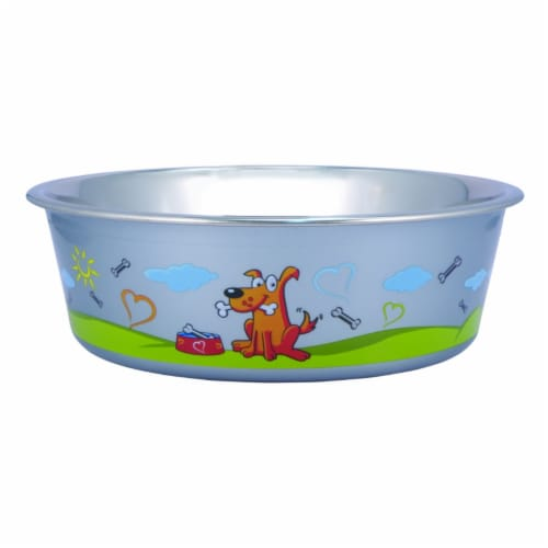 Multi Print Stainless Steel Dog Bowl By Bella N Chaser Perspective: front