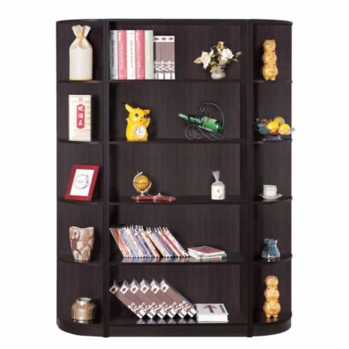 Benzara Capacious Corner Bookcase - Dark Brown Perspective: front