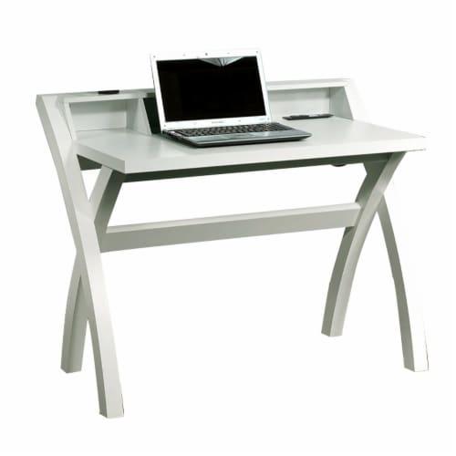 Benzara Sleek Contemporary Desk - White Perspective: front