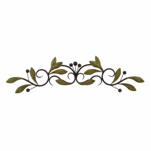 Benzara Olive Branch Door Top Wall Hanging In Metal - Green/Brown Perspective: front