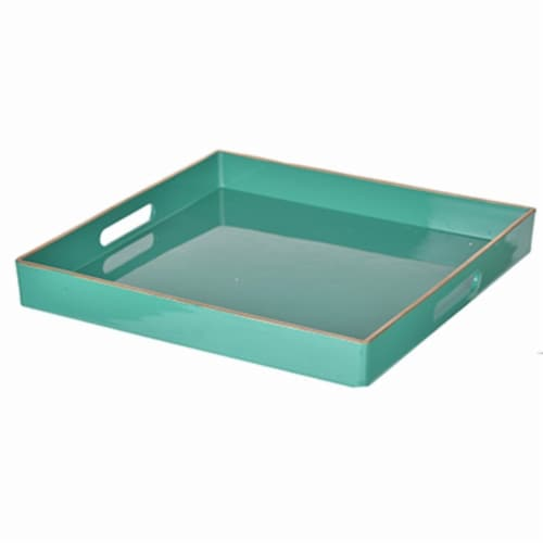 Benzara Square Mimosa Tray - Green Perspective: front
