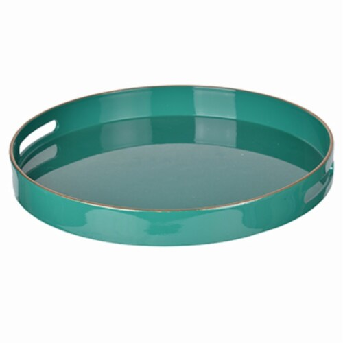 Benzara Round Mimosa Tray - Green Perspective: front