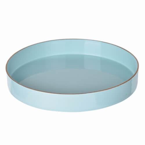 Benzara Round Mimosa Tray - Blue Perspective: front