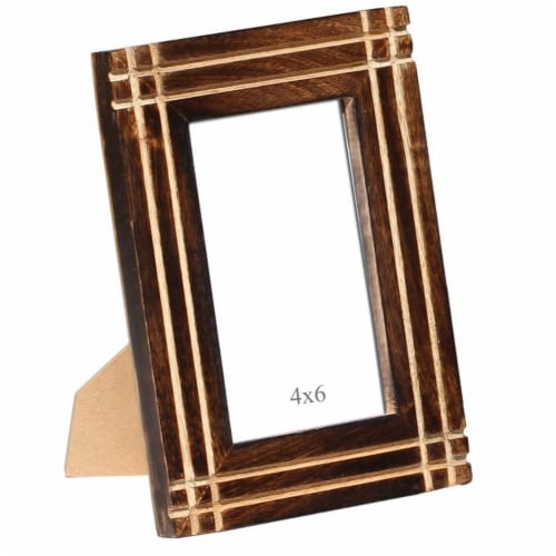 Benzara Rustic Horizontal And Vertical Handcrafted Picture Frame- Brown Perspective: front