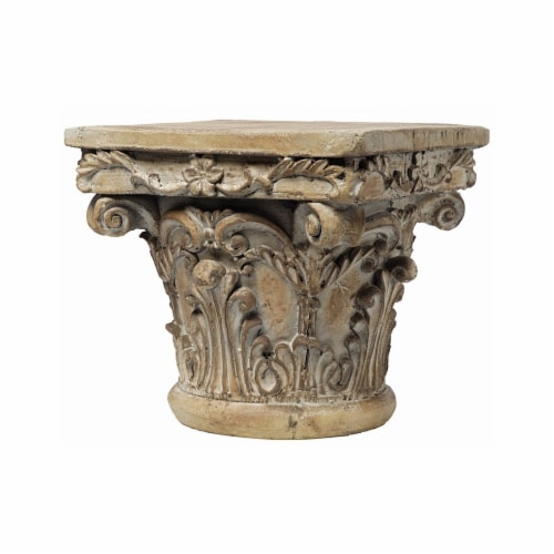 Traditional Resin With Scrolled Design Decorative Pedestal - Weathered Brown Perspective: front