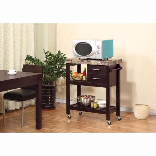 Modish Kitchen Cart With Faux Marble Top & 2 Drawers Perspective: front