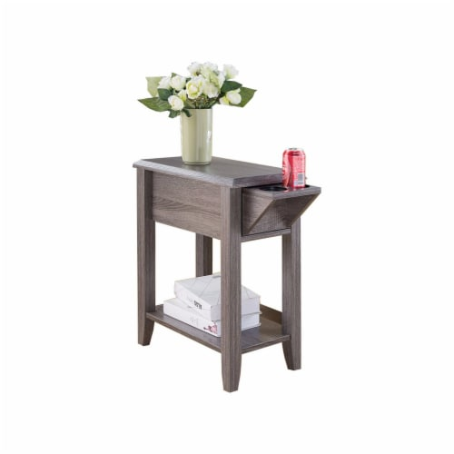 Benzara Beveled Edge Chair Side Table - Gray Perspective: front