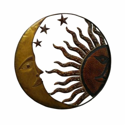 Benzara Celestial Metal Sun Star Moon Wall Decor - Bronze Gold/Rust Red Perspective: front