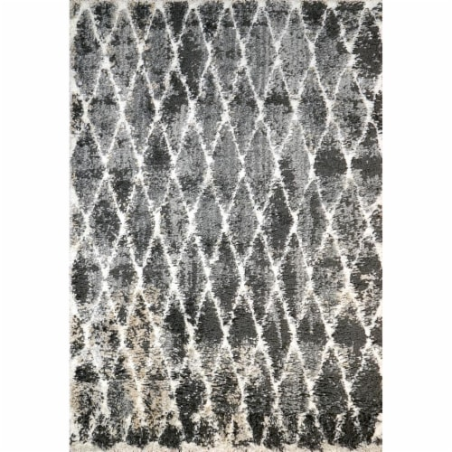 Dynamic Rugs AX695814910 5 ft. 3 in. x 7 ft. 7 in. Aura 5814 Area Rug, 910 Grey & Ivory Perspective: front