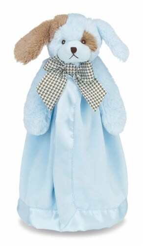 Bearington Baby Waggles Snuggler Puppy Dog Plush Security Blanket - Blue Perspective: front