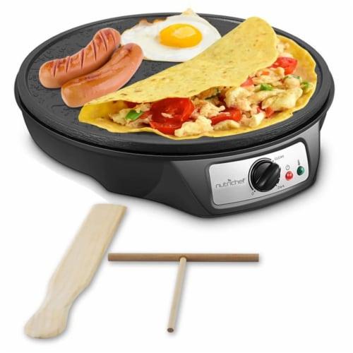 NutriChef Electric Nonstick Griddle Crepe Injera Maker Hot Plate Cooktop, Black Perspective: front