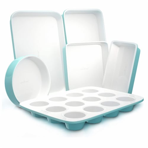 NutriChef NCBK6CT5 6-Piece Non-Stick Kitchen Oven Baking Pans Perspective: front