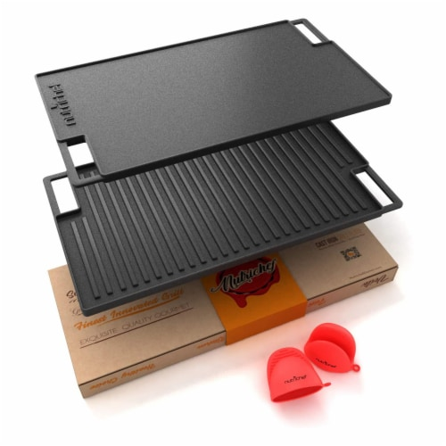 Nutrichef NCCIRG59 18 in. Cast Iron Reversible Grill Plate Perspective: front