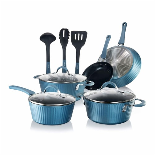 Nutrichef NCCW11BL Kitchen Ware Pots & Pan Set, Blue - 11 Piece Perspective: front