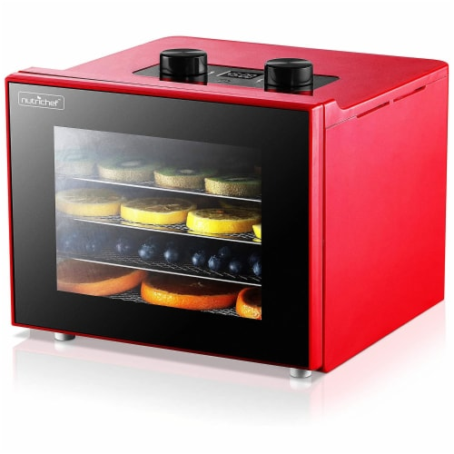 NutriChef Premium Electric Countertop Food Dehydrator Machine w/ 4 Shelves, Red Perspective: front