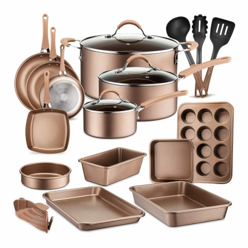 NutriChef Nonstick Cooking Kitchen Cookware Pots and Pans, 20 Piece Set, Bronze Perspective: front