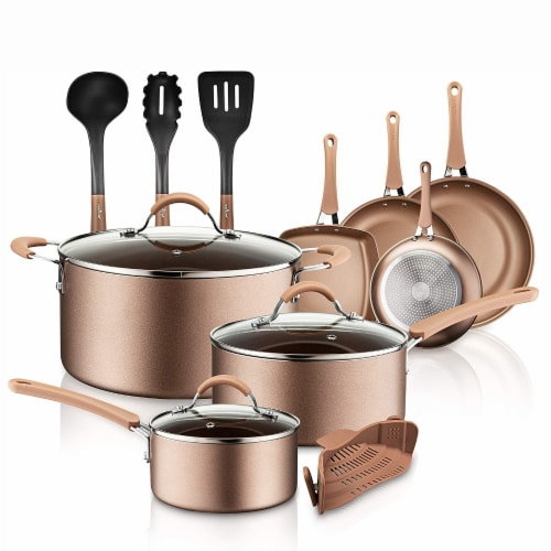 NutriChef Nonstick Cooking Kitchen Cookware Pots and Pans, 14 Piece Set, Bronze Perspective: front
