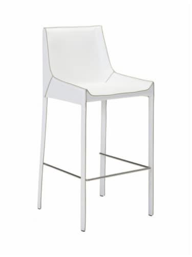 ZUO Fashion 26  Faux Leather Bar Stool in White (Set of 2) Perspective: front