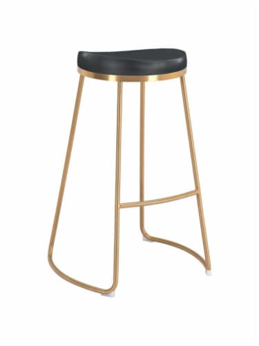 Zuo Modern Backless Bree Round Barstool - Black and Gold Perspective: front