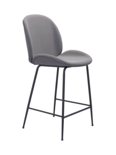Zuo Modern Design Upholstered Miles Counter Chair - Gray Perspective: front