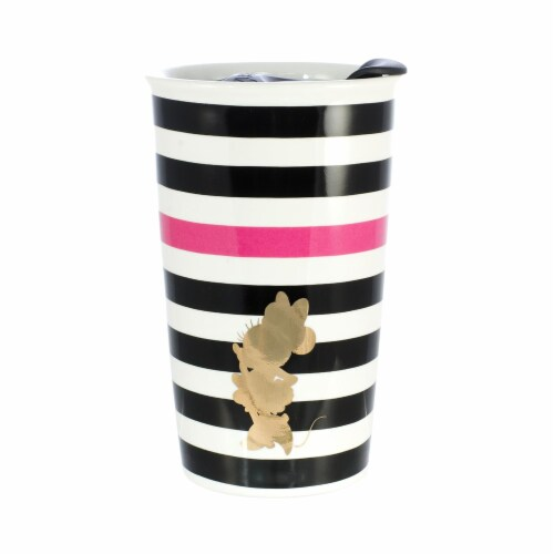 Disney Minnie Mouse Geo Glam Silouhette 10oz Ceramic Travel Mug with Lid Perspective: front