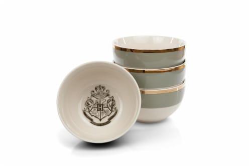 Harry Potter Hogwarts Emblem White & Grey Ceramic Bowl Collection | Set of 4 Perspective: front