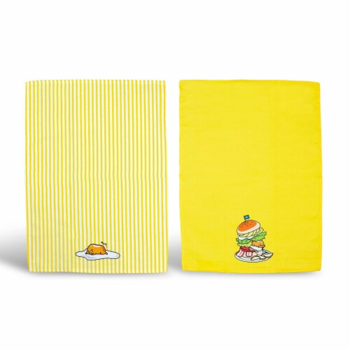OFFICIAL Gudetama Lazy Egg Cute Dish Towels | Perfect Kitchen Accents | Set of 2 Perspective: front