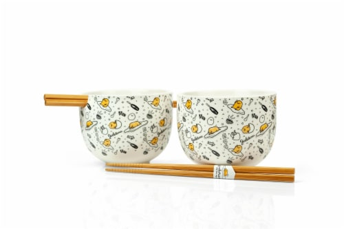 Gudetama 2 Pack 4 inch Ceramic Bowl & Chopstick Set Perspective: front