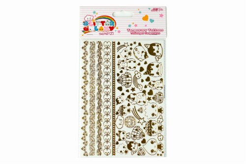 Glitter Galaxy Gold Shimmer Temporary Tattoo Sheet Wave 1 Perspective: front