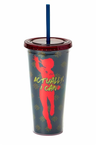Marvel's Captain Marvel Actually I Can 16-Oz PVC Tumbler w/ Lid and Straw Perspective: front
